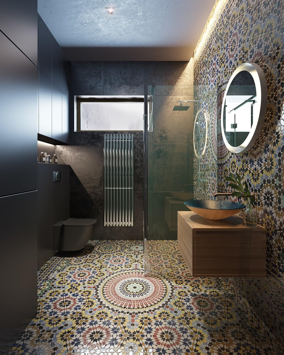 Modern bathroom with mosaic tiles on walls and floors - Moroccan ...